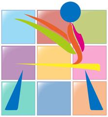 Sport icon design for gymnastics on beam