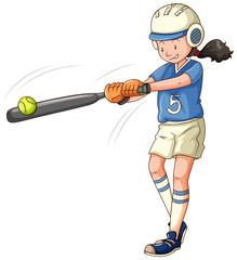 Woman athlete playing softball