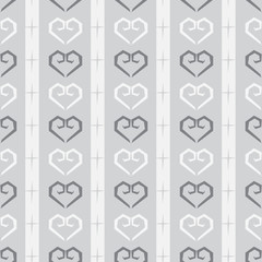 Seamless doodle heart pattern in monochrome background