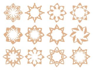 Flora Pattern Vector Design Elements in Soft Brown Color