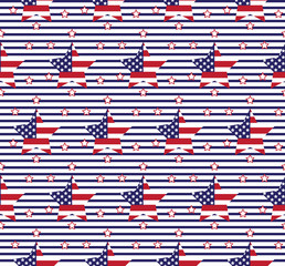 Seamless United States vector flag in a star