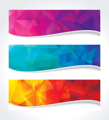 A set of modern geometric colors background banner.