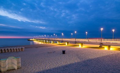 Colorful lights on the pier in the evening, Kolobrzeg, Poland