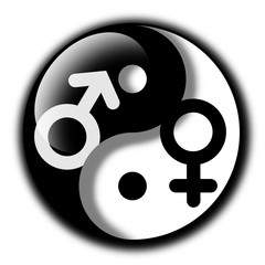 Yin and Yang with of woman and man (female and male). Equality and harmony between gender of feminine and masculine. Metaphor of taoist sexual practice of tantric sex and cultivation of sexual energy