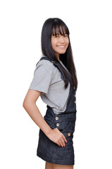 Young asian girl smiles over white background