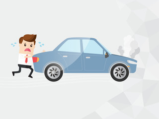 businessman pushing broken down car. with copy space