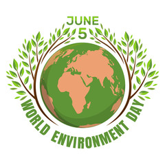 World environment day concept. June 5th. Green eco earth logo. Planets and green leaves. Vector illustration