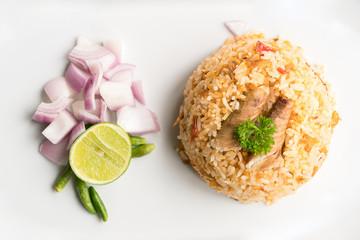 fried mackerel and rice-thai cuisine-namprik pal tu