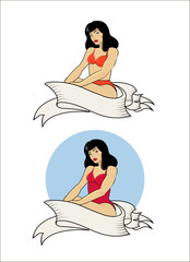 Vector illustration pin up