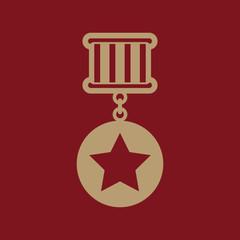 The medal icon. Reward symbol. Flat