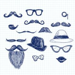 Funny blue color hipster doodle elements on paper sheet background