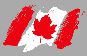 Canada flag. Hand drawn vector image. Canada  is a country in the northern part of North America.