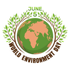 World environment day concept. June 5th. Green eco earth logo. Planets and green leaves. Vector illustration isolated on white background
