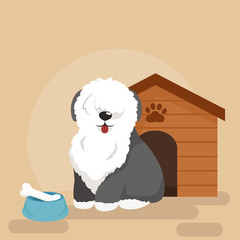 Happy Dog kennel, house with bone and bowl of food