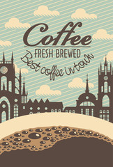 banner for a cafe with a cup of coffee and the old town