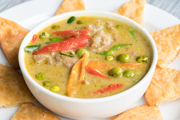 Green Beef Curry traditional Thai Food served with Roti Halal Food in Thailand