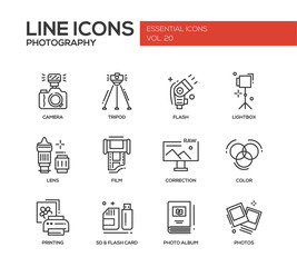 Photography line design icons set