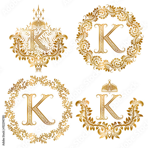 Golden letter k vintage monograms set heraldic monogram for Letter k decoration