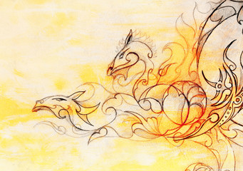 drawing of ornamental dragon on old paper background  and sepia color structure, computer collage.