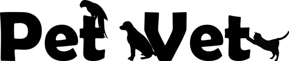Veterinary Hospital logo: pet vet with dog, cat and parrot silhouette