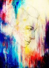 art drawing beautiful girl face and color background.