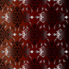 Seamless pattern from vintage ornament. Silver ornament with gradient are on the dark red and brown background.