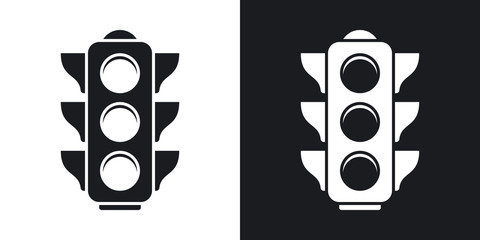 Vector traffic light icon. Two-tone version on black and white background