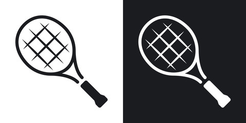Vector tennis racket icon. Two-tone version on black and white background