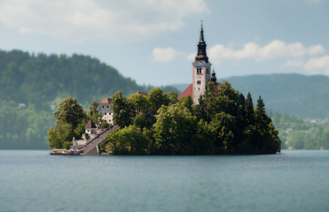 Pilgrimage Church of the Assumption of Maria on Bled island. Bled lake. Slovenia
