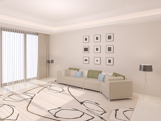 Large bright living room with a comfortable sofa .