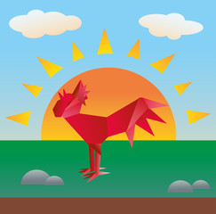 Paper red rooster on the background of dawn