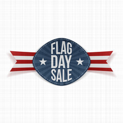 Flag Day Sale festive Label with Ribbon and Shadow