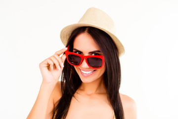 Portrait of cheerful happy woman in summer hat and glasses