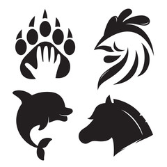 Animal icons or logos.