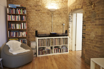 Close Up Of Record Decks And Audio Equipment In Apartment