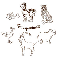 Set of funny animals on white background. sketch. Vector