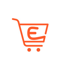 E letter logo with Shopping cart icon.
