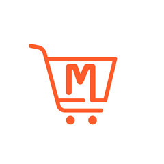 M letter logo with Shopping cart icon.