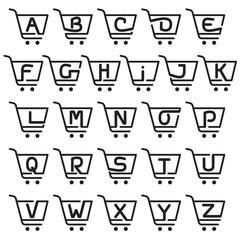 Alphabet logo with Shopping cart icon.
