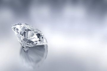 Diamond placed on reflection background, 3d.