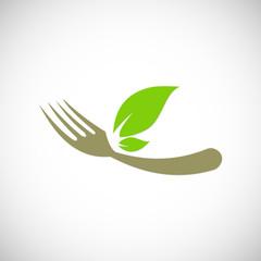 food organic leaf logo.