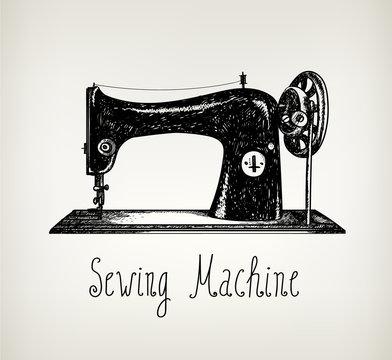 Vector hand drawn retro, vintage sewing machine illustration.