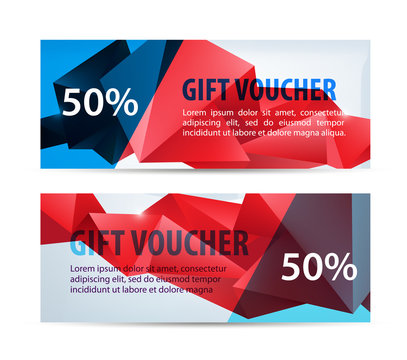 Vector set of colorful gift faceted vouchers, coupons