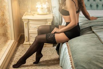Female legs in stockings