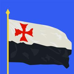 Crusader flag flying in wind