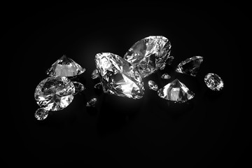 Group of Diamonds placed on black background, 3d.