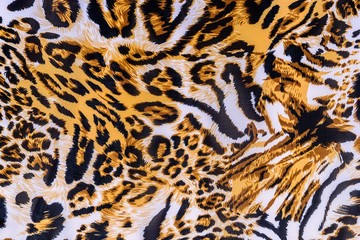 texture of print fabric striped leopard