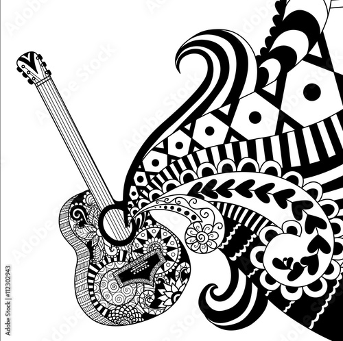 GuitarDoodles Design Of Guitar For Coloring Book For Adult Poster