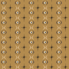Seamless abstract pattern eye tile with brown background