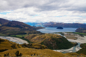 Views from Rocky Mountain Summit towards Lake Wanaka, New Zealand
